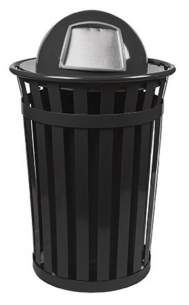 Witt M3601-DT-BK 36-Gallon Outdoor Flat Bar Trash Can w/ Dome Top Lid, Black
