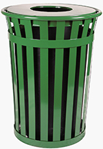 Witt Industries M3601-FT-GN 36-Gallon Outdoor Flat Bar Trash Can w/ Flat Top Lid, Green