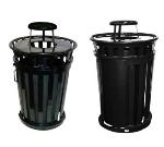 Witt Industries M3601SD-RC-BN 36-Gallon Outdoor Trash Can w/ Rain Cap Lid & Sliding Door, Brown