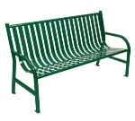 Witt Industries M5-BCH-GN 60-in Outdoor Slatted Flat Bar Bench w/ Anchor Kit, Green