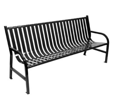Witt Industries M6-BCH-BK 72-in Outdoor Slatted Flat Bar Bench w/ Anchor Kit, Black
