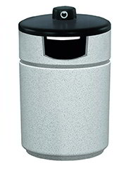 Witt RLC-2038THAB-GR 27-Gallon Outdoor Side Load Trash Can w/ Hide-A-Butt, Graystone