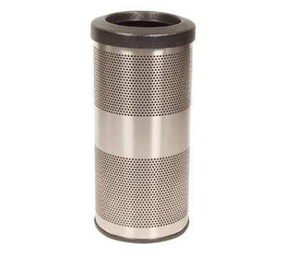 Witt SC10-01-SS 10-Gallon Perforated Trash Can w/ Flat Top Lid, Stainless Finish