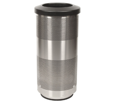 Witt Industries SC20-01-SS 20-Gallon Perforated Trash Can w/ Flat Top Lid, Stainless Finish