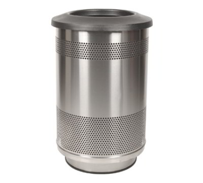 Witt SC55-01-SS-FT 55-Gallon Perforated Trash Can w/ Flat Top Lid, Stainless Finish