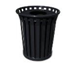 Witt Industries WC2400-FT-BK 24-Gallon Outdoor Trash Can w/ Flat Top Lid & Anchor Kit, Black