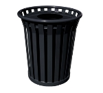 Witt Industries WC3600-FT-BK 36-Gallon Outdoor Trash Can w/ Flat Top Lid & Anchor Kit, Black