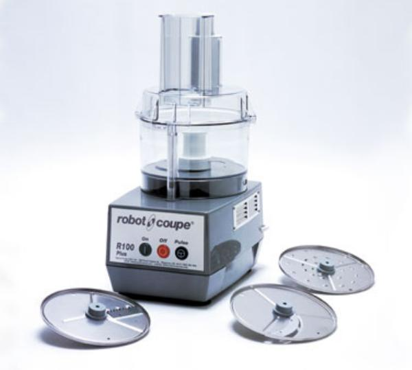Robot Coupe R100 PLUS Commercial Food Processor Light Duty Grey Bowl Attachment 3 Plates Included Restaurant Supply