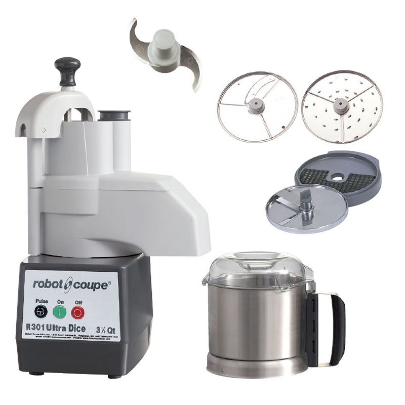 Robot Coupe R301ULTRADICE 1-Speed Continuous Feed Food Processor w/ Side Discharge & 3.5-qt Bowl, 120v