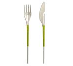 "Lekue 2900100V10U008 8"" Double-Sided Chopsticks Combo w/ Fork & Knife - Fiberglass, Nylon, Green"