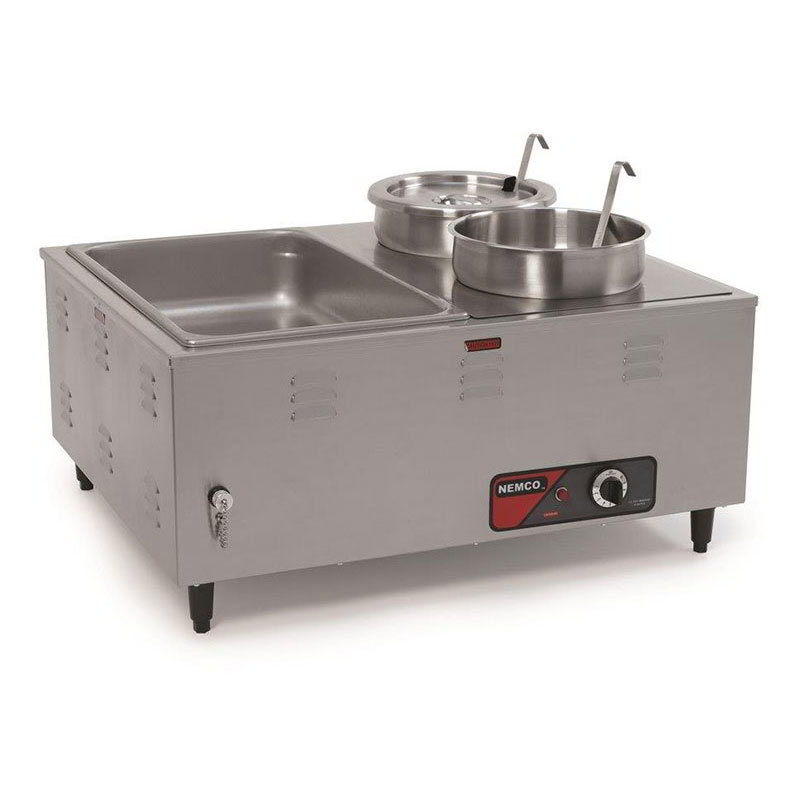 "Nemco 6060A Mini Steamtable w/ Front Drain Valves & Extra Steep Wells, 14x27x24"", 120v"