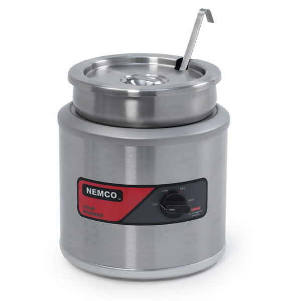 Nemco 6102A-ICL-220 7-qt Round Countertop Cooker Warmer w/ Inset, Cover, Ladle, 3.5-ft Cord, 220/1V