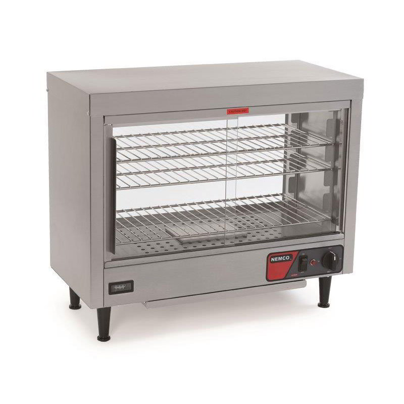 "Nemco 6460 Heated Display Case w/ Sliding Doors, 3- Shelves & 23.75x28.13x13.06"", 6.8-amp"