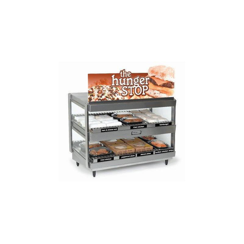 Nemco 6480-36S 27.5-in Heated Shelf Merchandiser w/ Slanted Dual Shelf & 15-amps, Stainless