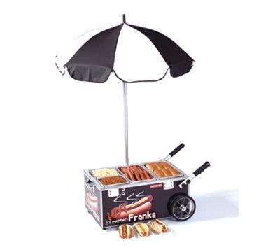Nemco 6550-SF3 CounterTop Mini Hot Dog Steam Cart w/ Umbrella Config # 3 Black Restaurant Supply