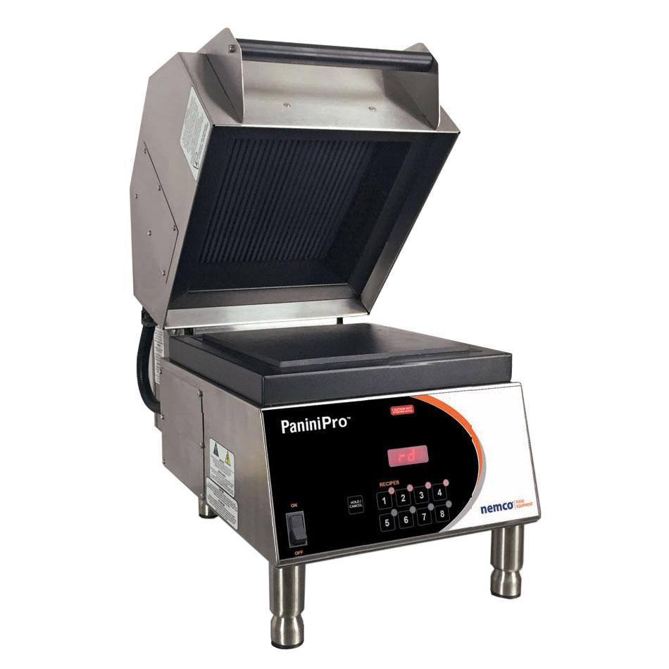 Nemco 6900-208-GF Commercial Panini Press w/ Aluminum Grooved Top/Smooth Bottom Plates, 208v/1ph