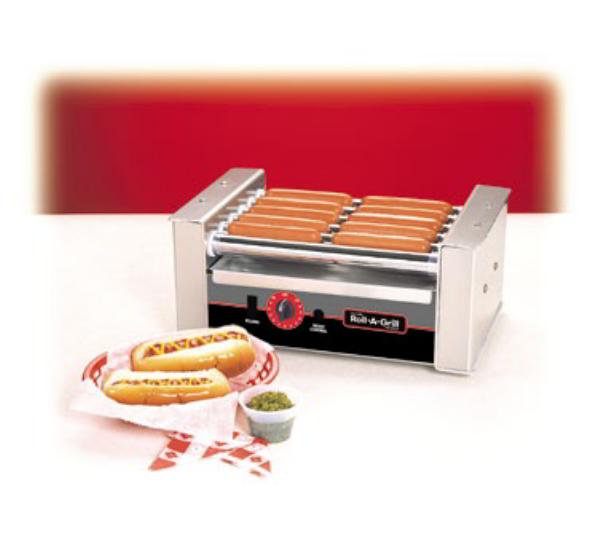 Nemco 8010S-220 Roll-A-Grill Hot Dog Grill, Silverstone, 10 Dogs, 220V