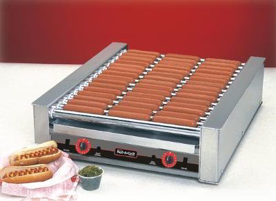 Nemco 8027S Roll-A-Grill Hot Dog Grill Silverstone Rollers 27 Dogs 120V Restaurant Supply