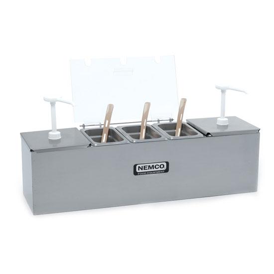 Nemco 88100-CB-1 Pump/Dipper Style Condiment Station w/ (2) 3-qt Pumps & (1) Pan, Stainless