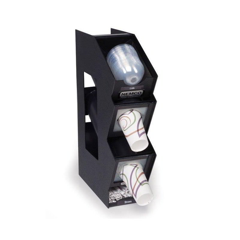 Nemco 88400-CDA Countertop Cup Dispenser w/ Angled Rack Style, 2-Tubes & Lid Dispenser, Plastic