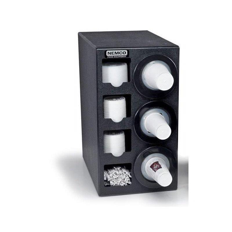Nemco 88400-CDH Countertop Cup Dispenser w/ 3-Tubes, 2-Lid Dispenser, Straw Compartments, Plastic