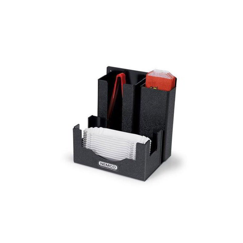 Nemco 88500-CO3 Hot Dog Tong & Boat Organizer w/ 3-Sections, Black
