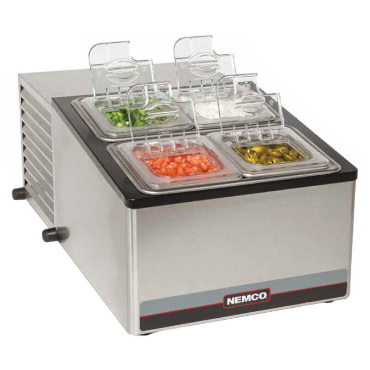 Nemco 9010 Cold Condiment Dispenser w/ (4) Pans - Stainless, 120v