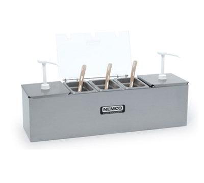 Nemco 88100-CB-2 Condiment Station w/ Pumps, (2)3-qt Pans, (1)1.1-qt Pan & 25.75x8-in, Stainless