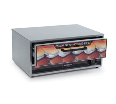 Nemco 8045W-BW-220 Bun Food Warmer w/ 64-Bun Capacity & Open Sliding Door, 220/1V, 3-amp, Stainless