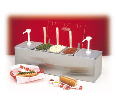 Nemco 88100-CB-1 Condiment Station w/ Pumps, (2)3-qt Pans, (1)6.1-qt Pan & 25.75x8-in, Stainless