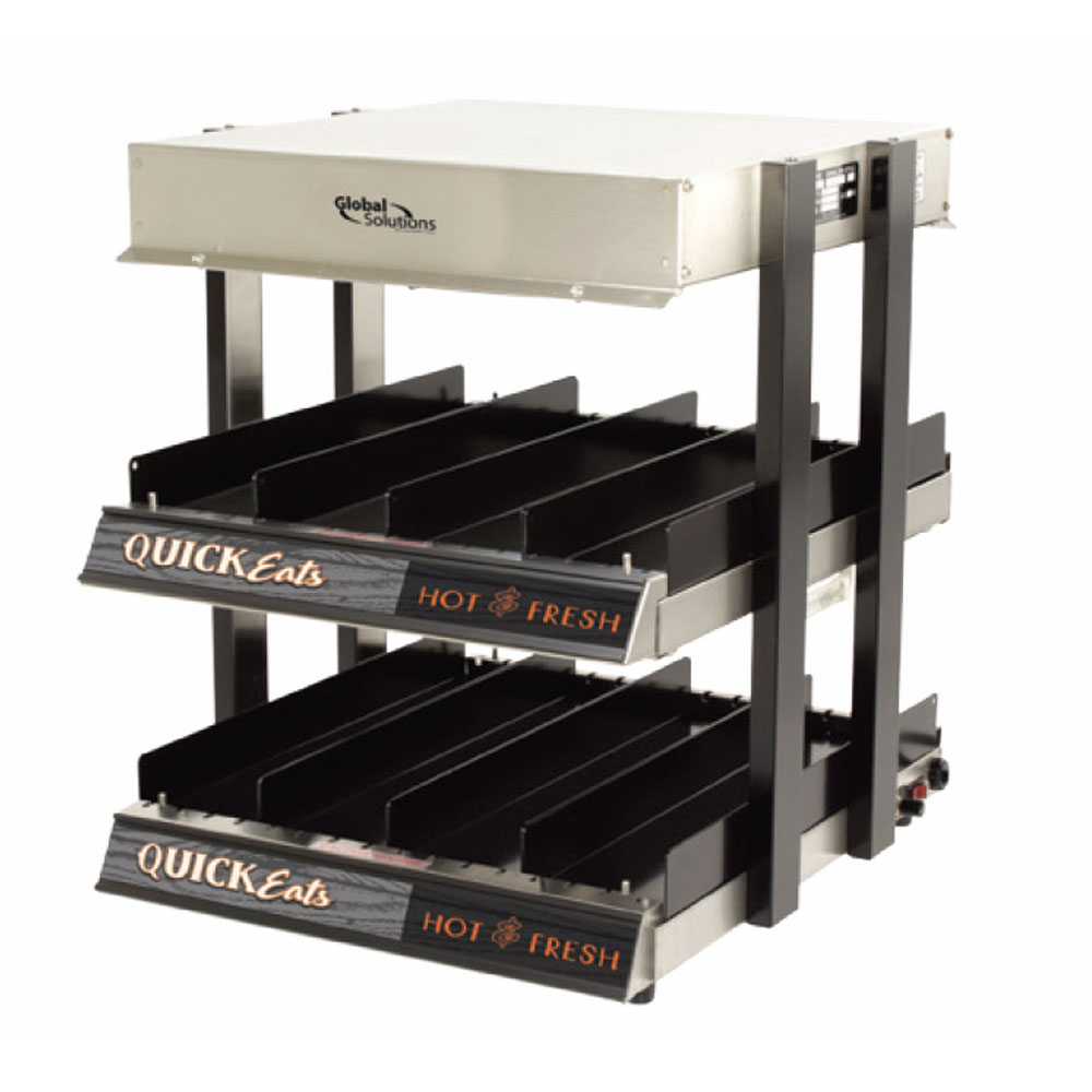 "Nemco GS1300-16 Global Solutions 18"" Self-Service Countertop Heated Display Shelf - (2) Shelves, 120v"