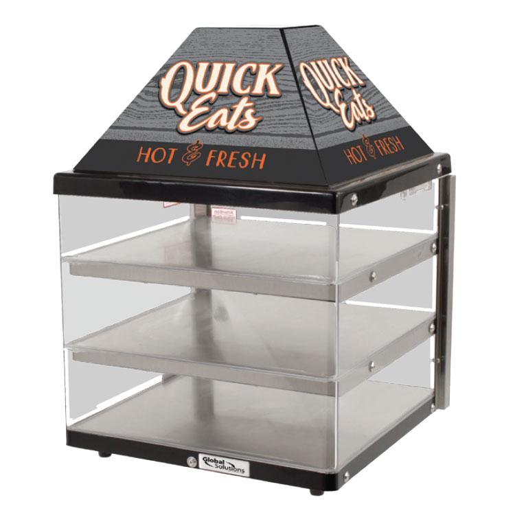 "Nemco GS1415 Global Solutions 18"" Full-Service Countertop Heated Display Case - (3) Shelves, 120v"