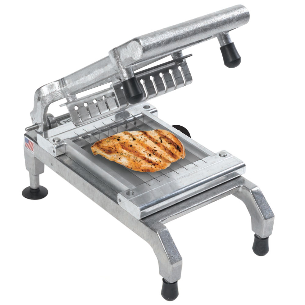 Nemco 55975 Chicken Slicer w/ .50-in Cut, Unsharpened Blades, Rubber Bumpers & Non Skid Feet
