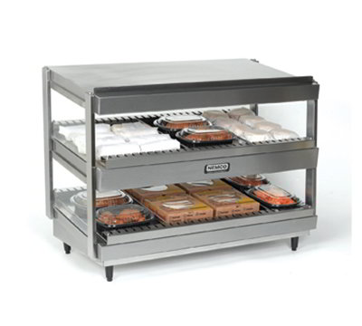 "Nemco 6480-18S 25.38"" Heated Shelf Merchandiser w/ Slanted Dual Shelf & 7.2-amps, Stainless"