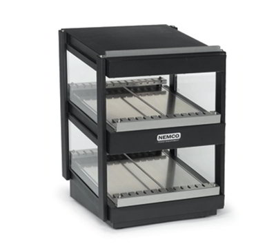 Nemco 6480-36S-B 27.5-in Heated Shelf Merchandiser w/ Slanted Dual Shelf & Independent Controls, Black