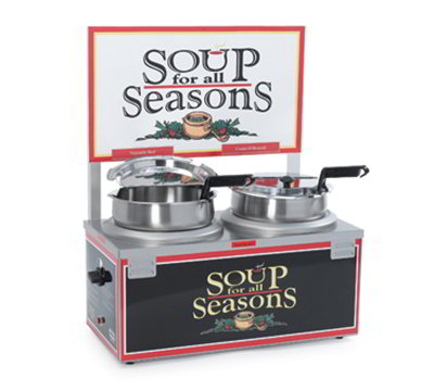 Nemco 6510A-2D7P Soup Warmer w/ Double 7-qt Well & Double Thermostat, 1100-Watt, 120/1 V