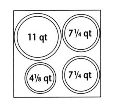 Nemco 67412 Adapter Plate w/ (2)7.25-qt, (1)4.13-qt & (1)11-qt Inset Holes For Model 6060A