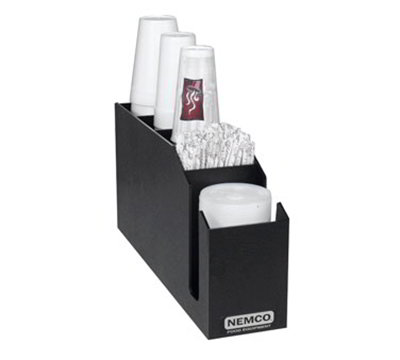 Nemco 88400-CDV Countertop Cup Dispenser Organizer w/ 3-Vertical Stacking, 2-Lid Straw Compartments