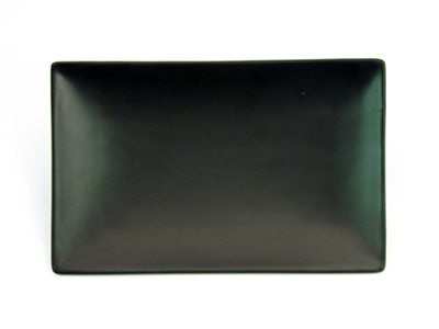 "CAC International 666-34-BLK Japanese Style Rectangular Platter - 8-1/2x5-1/2x1-1/4"" Ceramic, Black"
