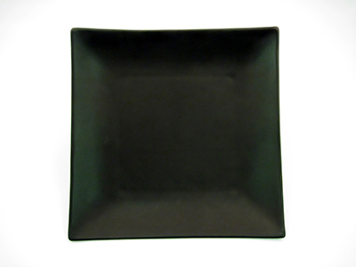 "CAC 6-S16-BLK 10"" Japanese Style Square Dinner Plate - Ceramic, Black"