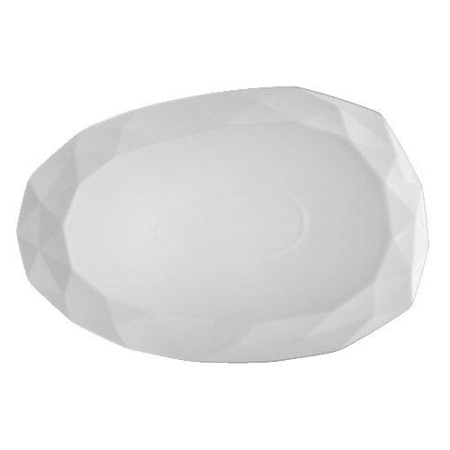 "CAC ART-13 Art Deco Platter - 12"" x 8"", Porcelain, Bone White"