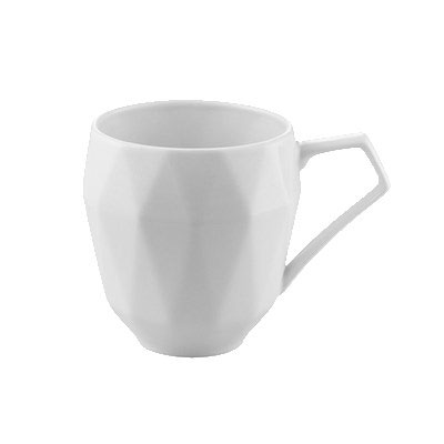 CAC ART-17 13-oz Art Deco Mug - Porcelain, Bone White