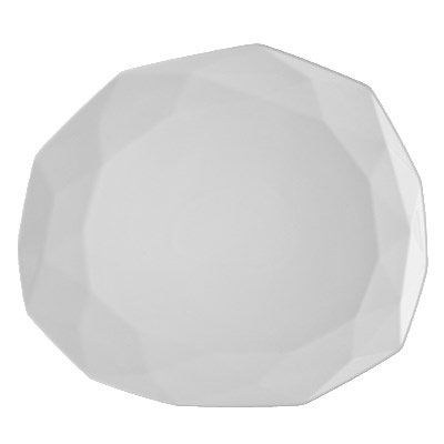 "CAC ART-7 Art Deco Plate - 7.88"" x 6.88"", Porcelain, Bone White"