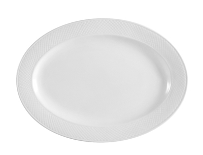 "CAC BST14 Boston Oval Platter - 12-1/2x8-3/4x1-1/4"" Embossed Porcelain, Super White"