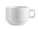 Cac International BST1S 8-oz Boston Coffee Cup - Embossed Porcelain, Super White