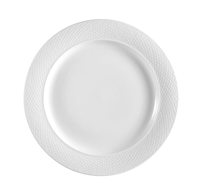 "Cac International BST9 10"" Boston Dinner Plate - Embossed Porcelain, Super White"