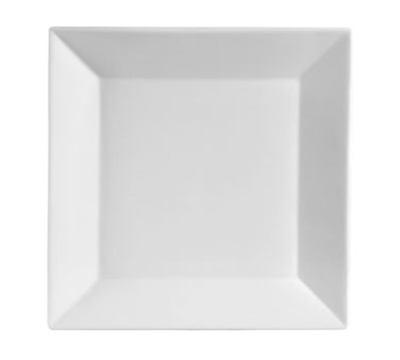 "CAC KSE16 10"" Kingsquare Square Dinner Plate - Porcelain, Super White"