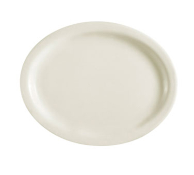"Cac International NRC14 13-1/2"" NRC Oval Platter - Narrow Rim, Ceramic, American White"