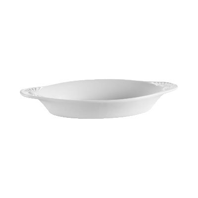 CAC COA12P 12-oz Accessories Welsh Rarebit Oval Baking Dish - Ceramic, Super White