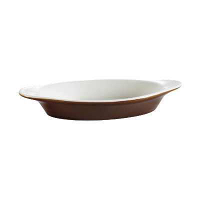 CAC COA-15-BWN 15-oz Welsh Rarebit Oval Baking Dish - Ceramic, Brown/American White